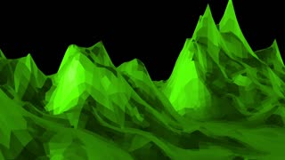 Green low poly background pulsating. Abstract low poly surface as origami landscape in stylish low poly design. Polygonal mosaic background with vertex, spikes. Cool modern 3D design