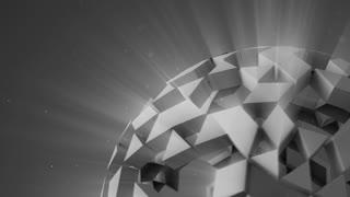 Grey polygonal sci-fi ball rotating seamless loop 3D render 4k UHD (3840x2160)