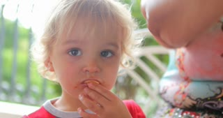 Handsome Blonde Chewing Food Candid Authentic Real Life 4 K Clip Of Toddler Chewing Nutritious Food