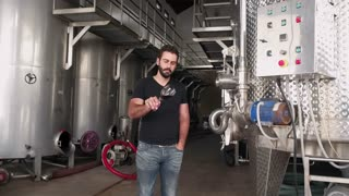 Handsome wine maker checking wine quality at the manufacturing with metal tanks for wine fermentation. Wine production at the modern manufacture