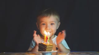 Happy adorable kid celebrating his birthday