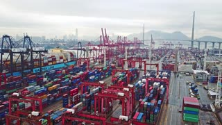 HONG KONG. February 20. Aerial view of huge industrial port with containers and huge ship