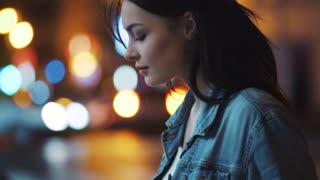 Hot young woman in jeans jacket stroking her hair, posing to camera. night city lights on the background. Enjoy the moment, positive mood, playful. Slow motion, female portrait