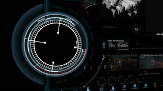 Hud Interfac 4K Animation of HUD head up display interface on with icon graph loading bar element for futuristic cyber technology concepte 001