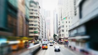 Hyper Lapse. Evening Streets of Hong Kong in a Motion . View From Double-Decker Tram .