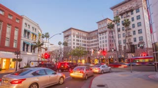 Hyper lapse of Rodeo Drive in Beverly Hills at night in 4K