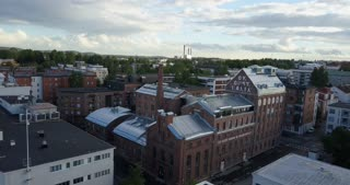 Kuopio Finland Aerial Of Buildings In Downtown With Factory