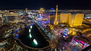 Las Vegas and Bellagio Fountains at Night Aerial Timelapse