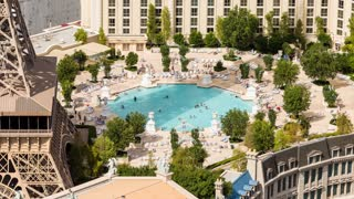 Las Vegas Paris Hotel Pool Party Swimming Pool Aerial Day Timelapse