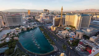 Las Vegas Strip Aerial Day to Night Sunset Timelapse Wide