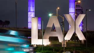 LAX Airport Los Angeles Sign With Light Colors Night Timelapse