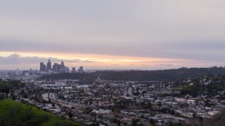 Los Angeles and 10 Freeway Day To Night Pink Sunset Timelapse