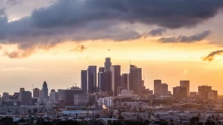 Los Angeles, California Golden Hour Light Skyline Timelapse