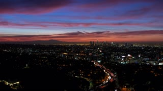 Los Angeles Skyline and Hollywood Beautiful Skyfire Sunrise