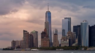 Lower Manhattan Skyline and Freedom Tower Golden Hour Sunset Timelapse