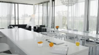 Luxury white living room in modern style. Minimalism. On the table is a bright juicy fruit