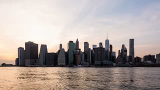 Manhattan, New York City Day to Night Sunset Timelapse September 11th Tribute