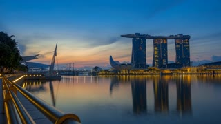 Marina Bay and Sands SkyPark at Dawn. Time Lapse