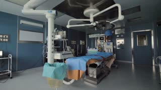 Medical equipment in hospital surgery.