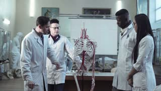 Medical students learning the skeleton parts on a dummy with medical professor