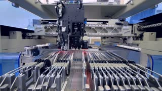 Micro chip is automatically applied. Printed digital electronic board production line.