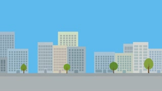 Modern city background. Animated urban backdrop with flat design.
