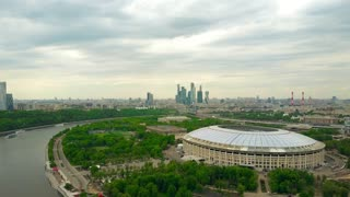 MOSCOW, RUSSIA - MAY, 24, 2017. High altitude aerial shot of renovated for FIFA World Cup 2018 Luzhniki soccer stadium. 4K video