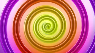Multicolor spiral shape spins loopable abstract 3D animation 4k UHD (3840x2160)