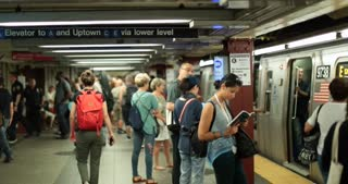 New York City Usa September 20 2017 Nyc Subway Trains People Waiting At New York City Platform
