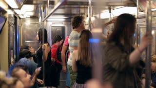 New York City Usa September 20 2017 Slow Motion Shot Of People Standing Inside Subway Wagon Moving Underground In New York City Tourists Standing On Subway Wagon