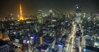 Night Time Lapse Tokyo Japan Cityscape