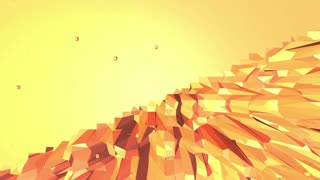 Orange low poly surface as landscape or video game. Polygonal digital mosaic shifting environment or transforming shining background in cartoon low poly 3D design. Free space