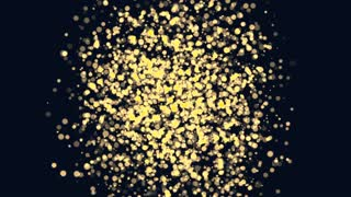 Particles morph into a 3D sphere. Science motion graphics with dark background.