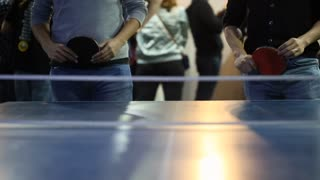 People Playing A Ping Pong Match Game