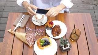 Photography Blogging Concept With Hands Taking Picture Of Breakfast With Phone