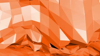 Polygonal mosaic background with vertex, spikes in cartoon modern 3D design. Abstract transforming orange low poly surface as landscape or cyberspace in stylish low poly design. Orange low poly.