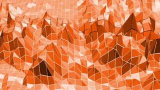 Polygonal mosaic background with vertex, spikes in cartoon modern 3D design. Abstract transforming orange low poly surface as paysage or video game in stylish low poly design. Orange low poly.