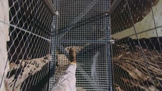 POV wide angle shot of adventurer tourist walk on dangerous,thrilling and breathtaking suspension hanging bridge, looks down on boots step on see through floor, adrenaline rush of adventure