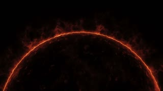 Realistic sun surface with solar flares