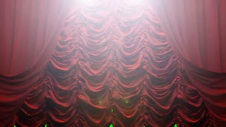 red curtain on green chromakey