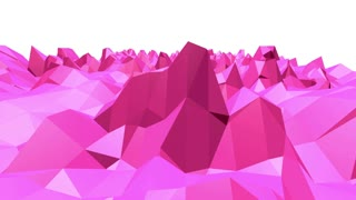 Rosy or pink low poly oscillating surface as stylish 3D background. Polygonal mosaic red vibrating environment or pulsating background in cartoon low poly popular modern stylish 3D design. .