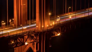 San Francisco Golden Gate Bridge at Night Close Up Timelapse