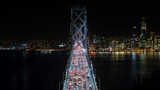 San Francisco Oakland Bay Bridge at Night Timelapse