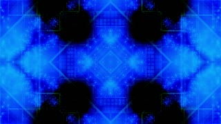 Shapes and particles geometric abstraction in blue green CG looping animated backdrop