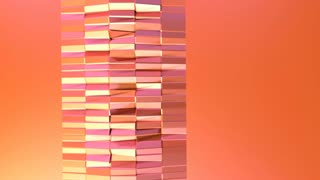 Simple low poly 3D surface as environment. Soft geometric low poly motion background of shifting pure pink orange red polygons. 4K Fullhd seamless loop background with copy space
