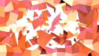 Simple low poly 3D surface as hypnotize environment. Soft geometric low poly motion background of shifting pure pink orange red polygons. 4K Fullhd seamless loop background with copy space