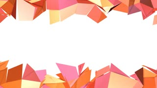 Simple low poly 3D surface as popular environment. Soft geometric low poly motion background of shifting pure pink orange red polygons. 4K Fullhd seamless loop background with copy space