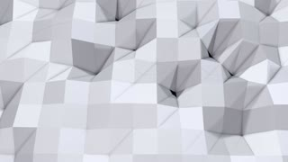 Simple low poly 3D surface as simple backdrop. Soft geometric low poly background of pure white grey polygons. 4K Full hd seamless loop background