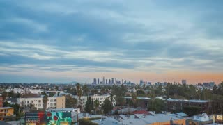 Slow Zoom Day to Night Time Lapse of Los Angeles, California