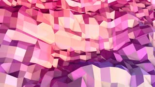 Soft geometric low poly motion background with pure blue red polygons. Abstract simple blue red low poly 3D surface as landscape. 4K Fullhd seamless loop background with gradient blue red
